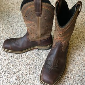 Men's Irish Setter steel toe boots 10.5 Dark Brown